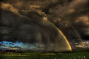 storm and rainbow